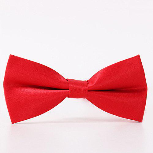 Classical Solid Color Formal Tuxedo Double Deck Banded Silky Bow Tie - RED