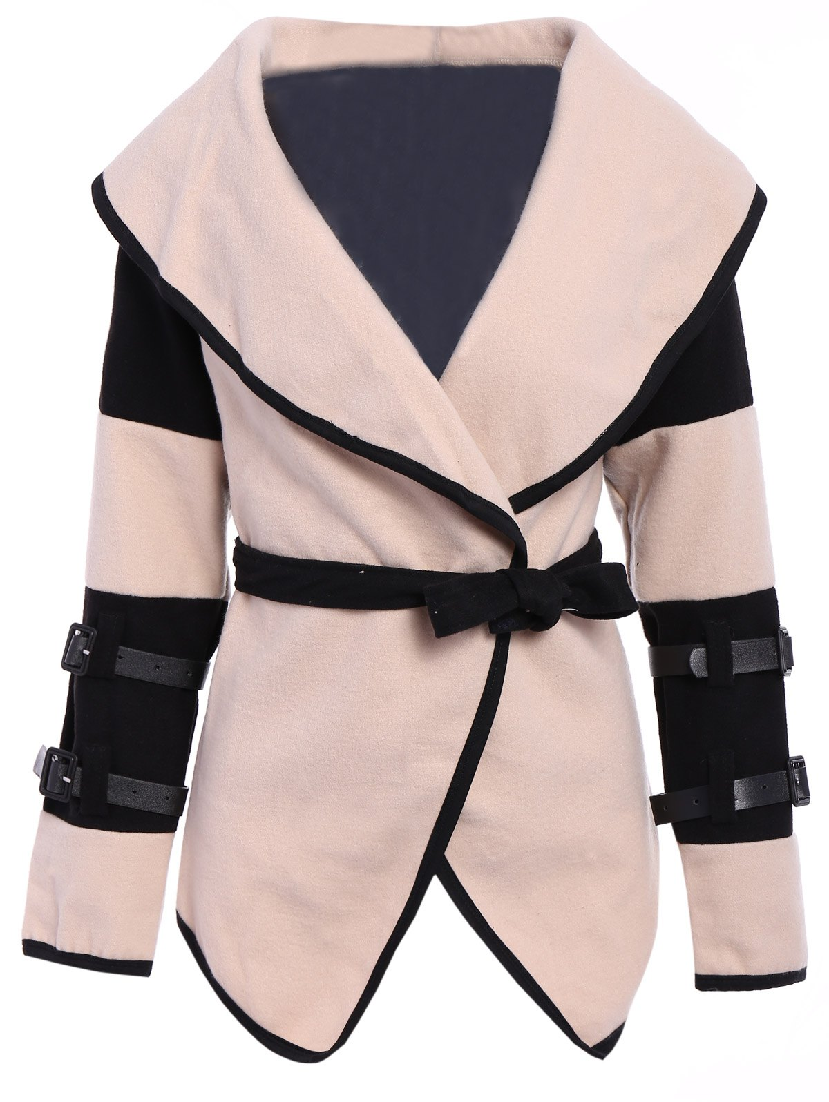 Stylish Color Block Turn-Down Collar Long Sleeve Coat For Women - APRICOT 2XL