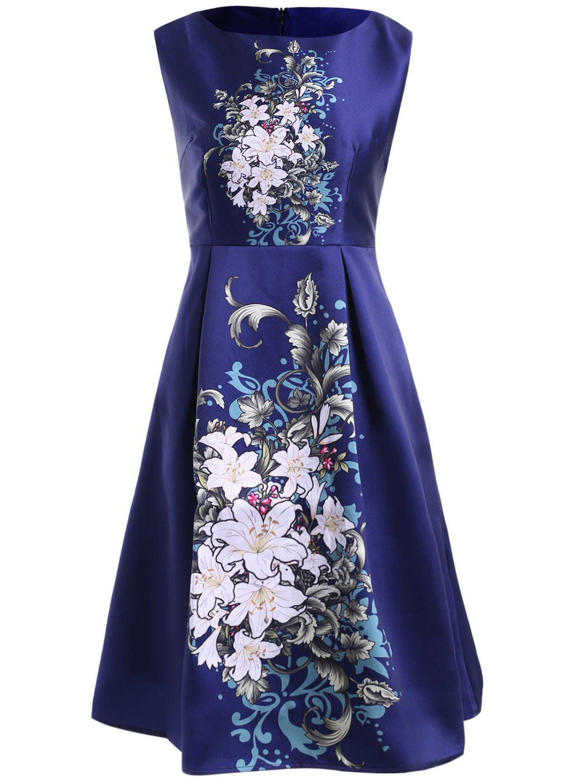 Simple Style Round Neck Sleeveless Floral Print Dress For Women цены