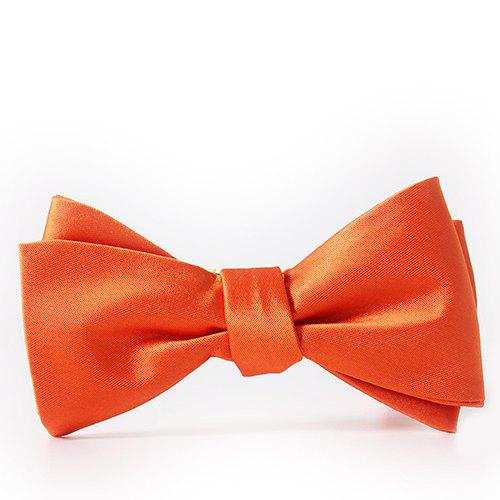 Simple Candy Color Formal Tuxedo Double Deck Banded Satin Bow Tie - JACINTH