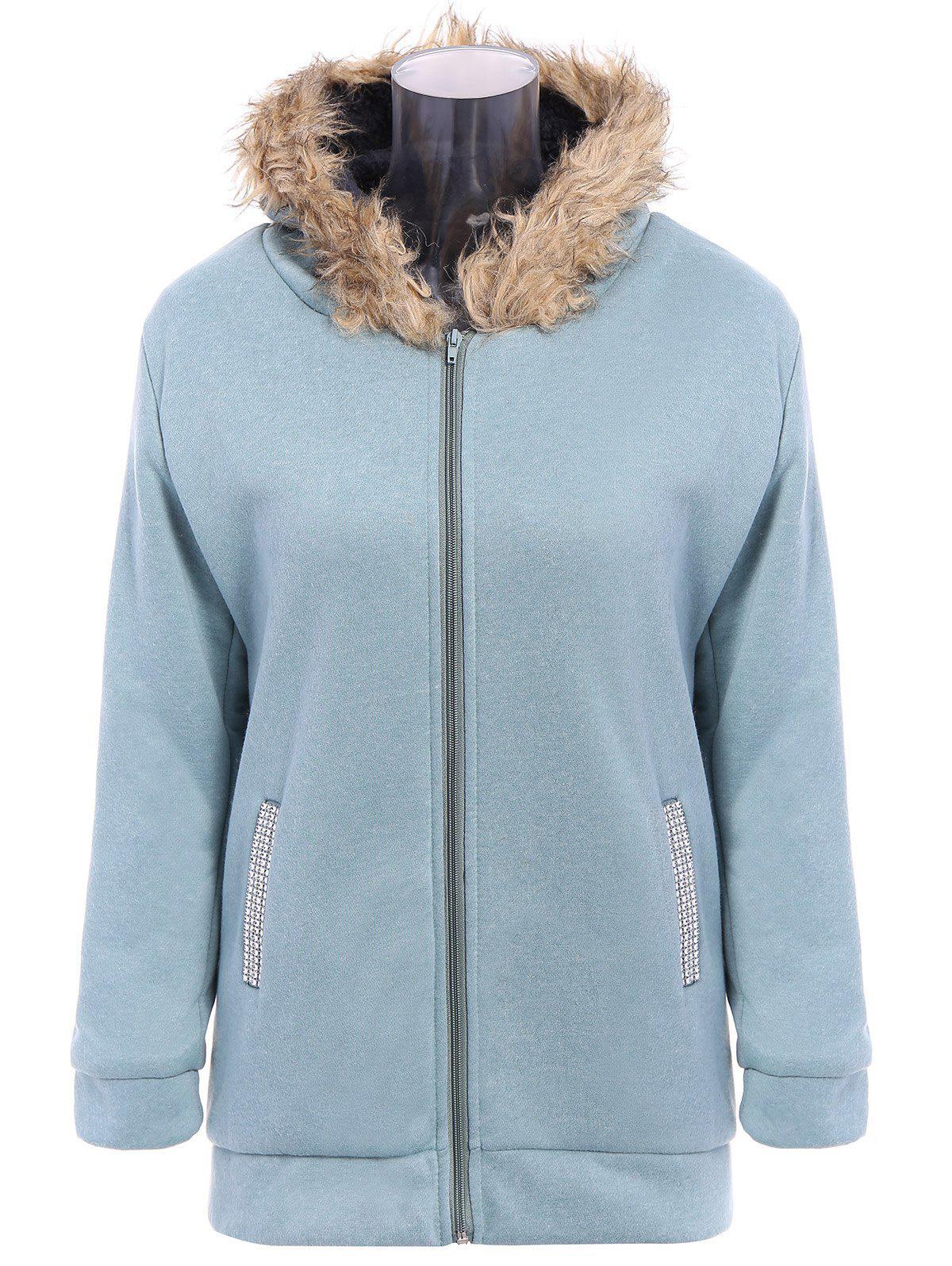 Zip Up Faux Fur Trim Hooded Coat - PEA GREEN M