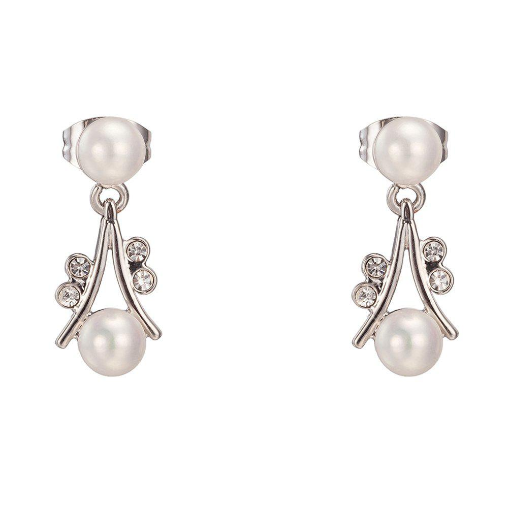 Pair of Alloy Faux Pearl Embellished Drop Earrings - SILVER