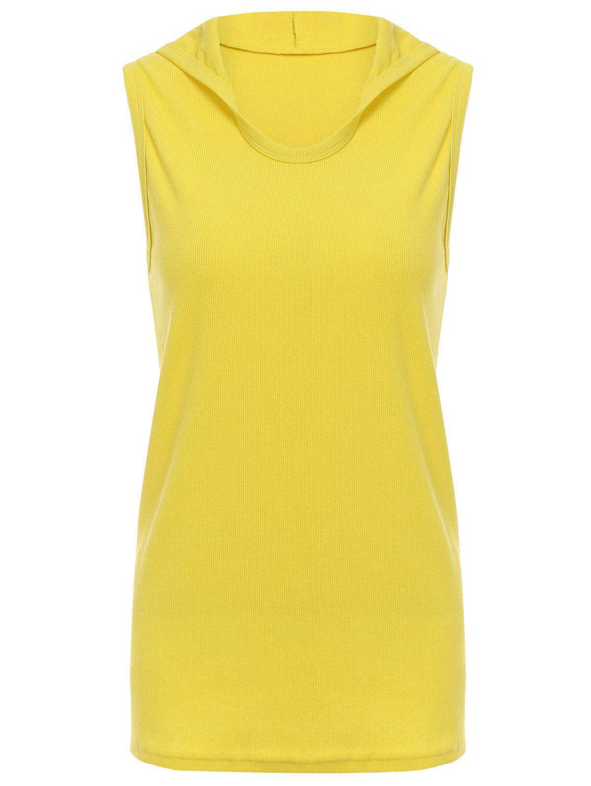 Trendy Hooded Solid Color Sleeveless Men's Tank Top - YELLOW 3XL