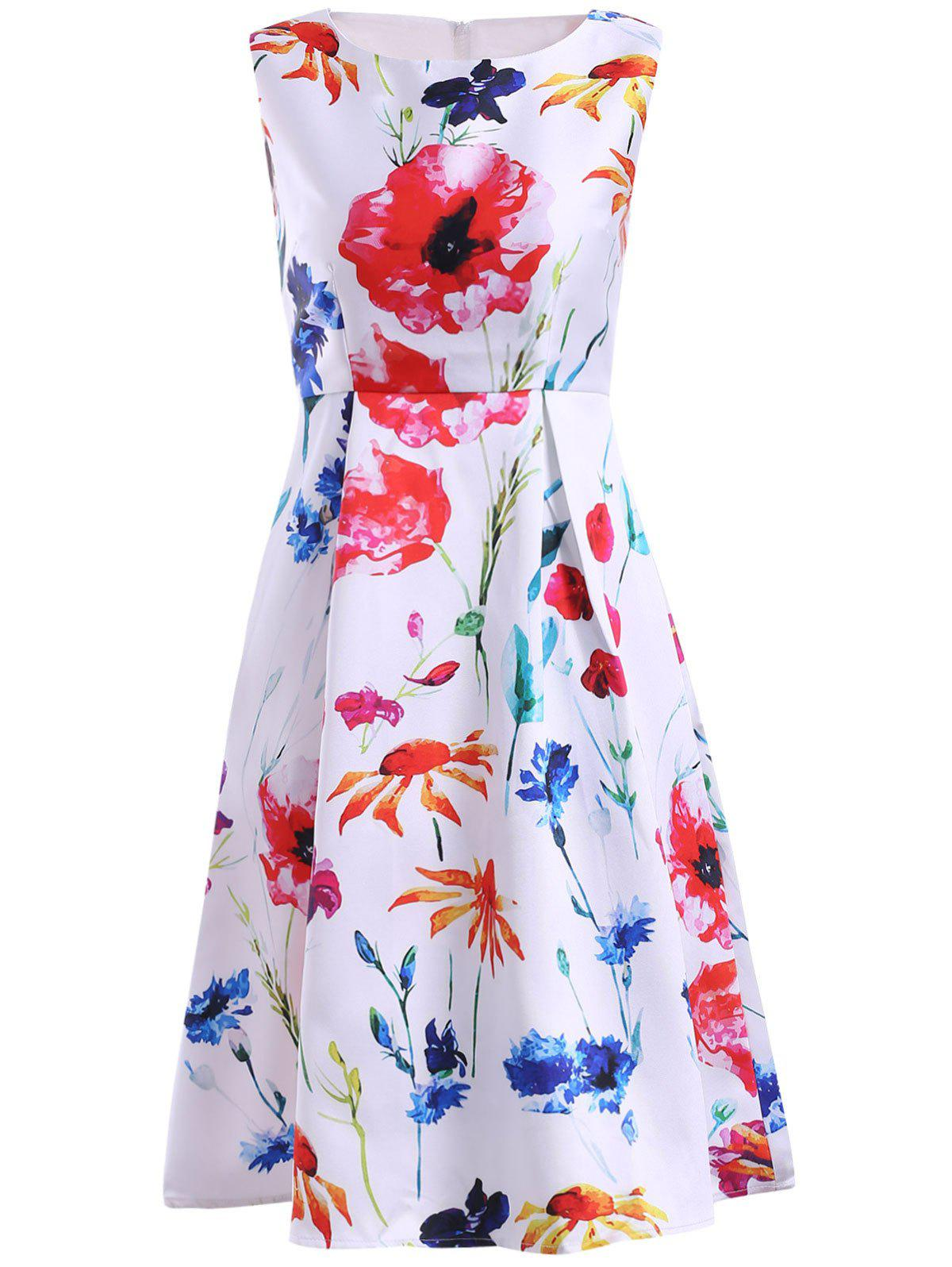 Simple Style Jewel Neck Sleeveless Floral Print Dress For Women - WHITE XL
