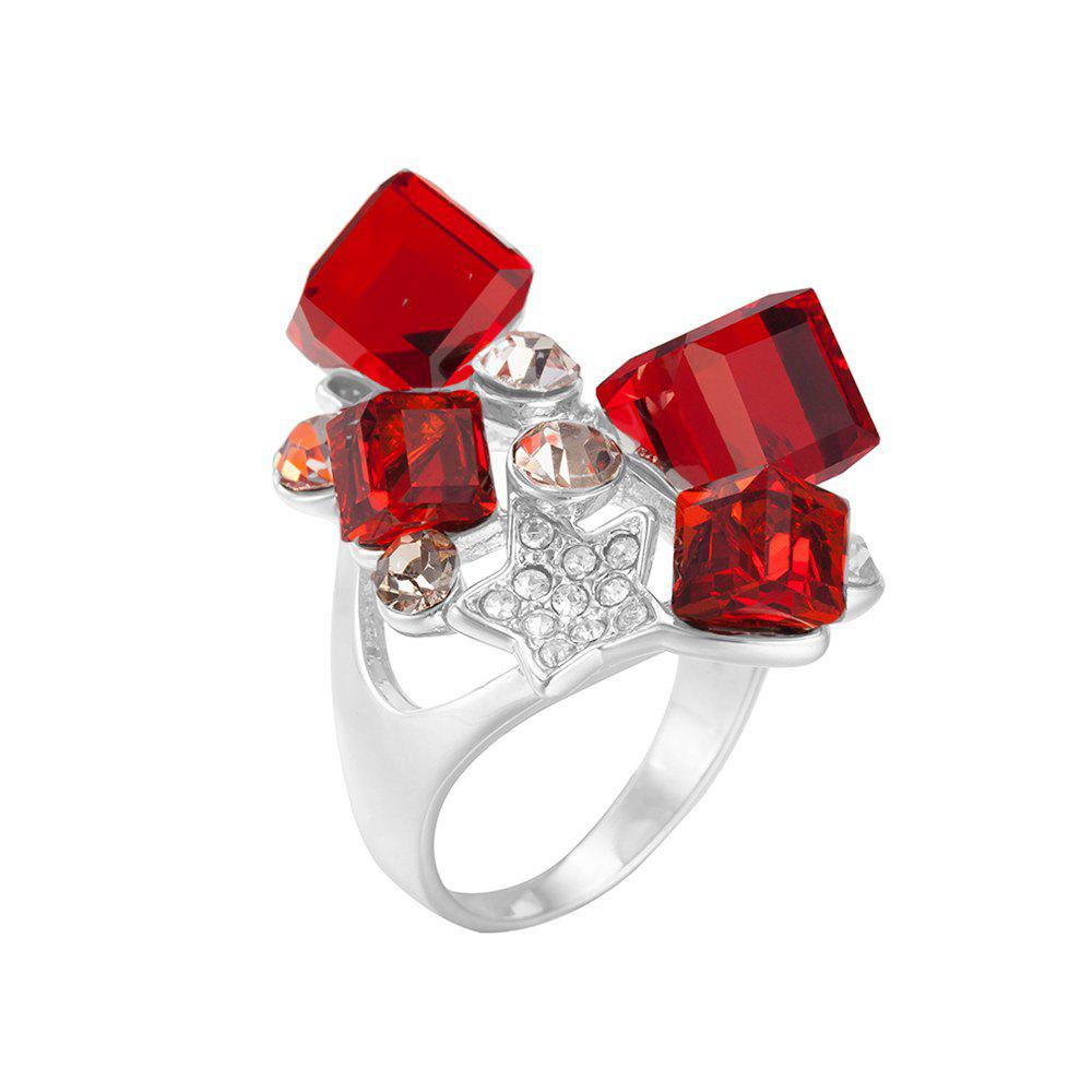 Rhinestone Faux Ruby Star Ring - RED ONE-SIZE