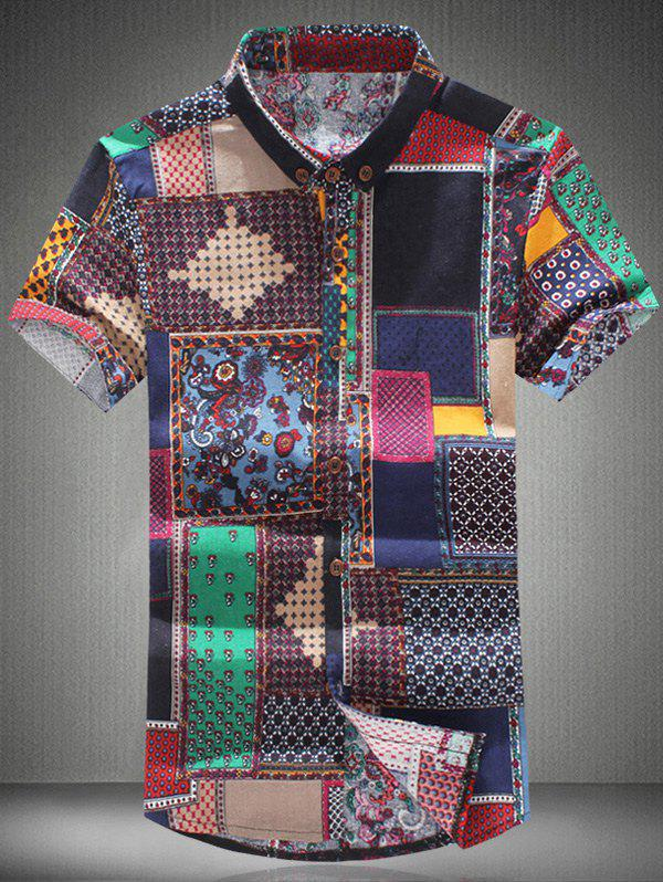 Ethnic Colorful Print Shirt Collar Short Sleeves Plus Size Men's Button-Down Shirt - COLORMIX 5XL