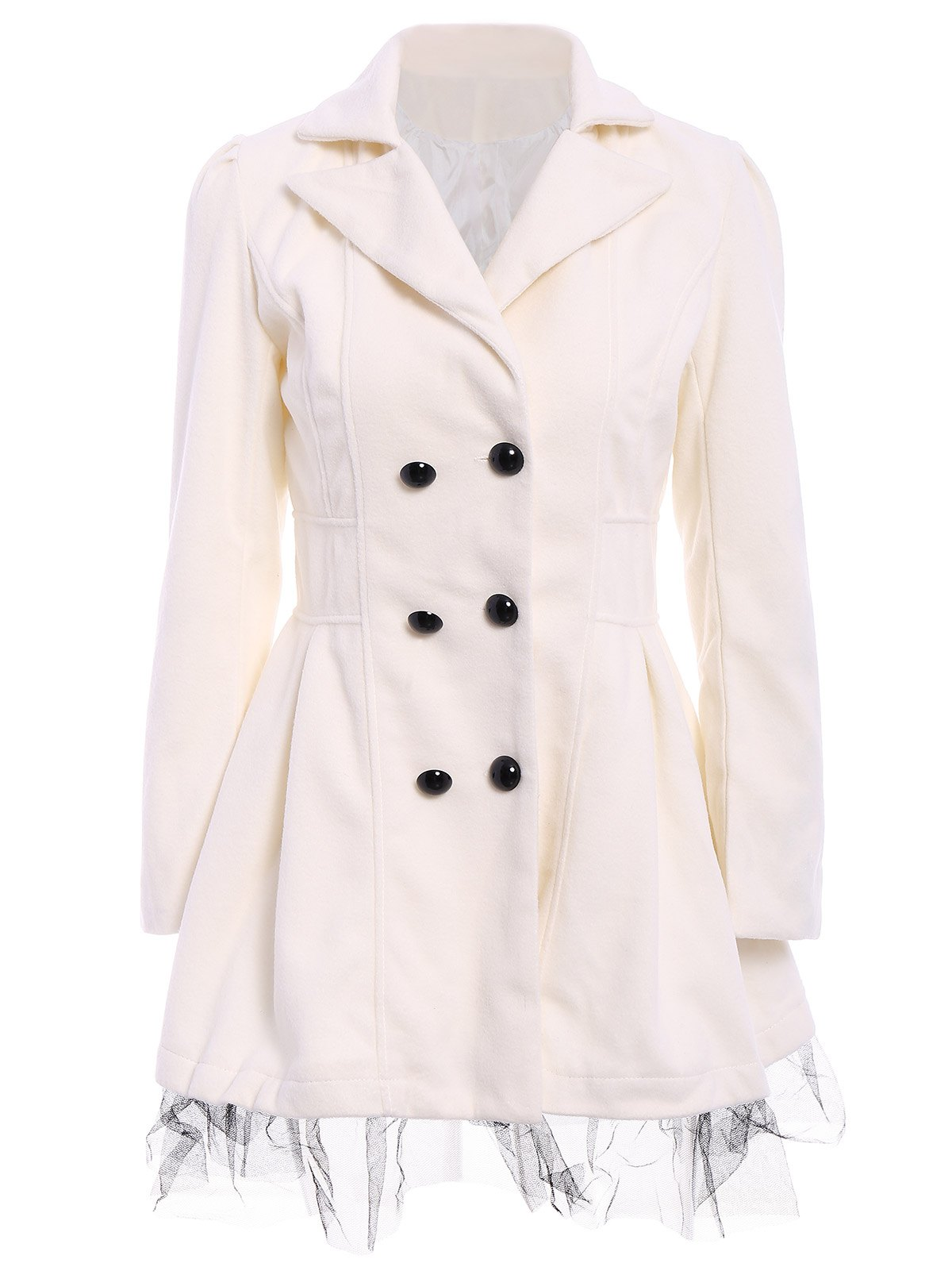 Preppy Style Lace Hem Double Breasted Women's Coat