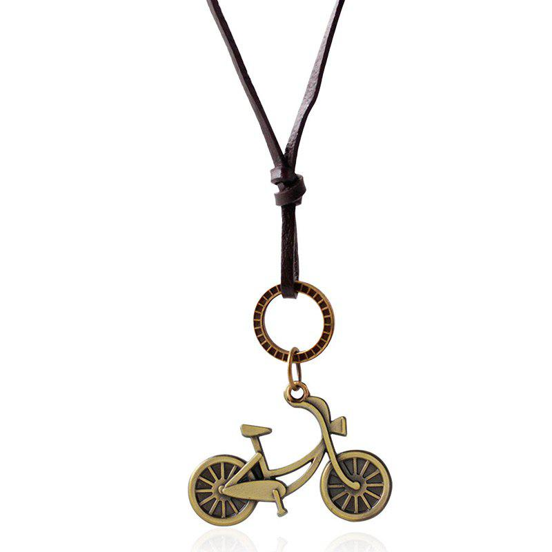 Vintage Double Layered Gold Plated Bike Pendant Necklace For Women