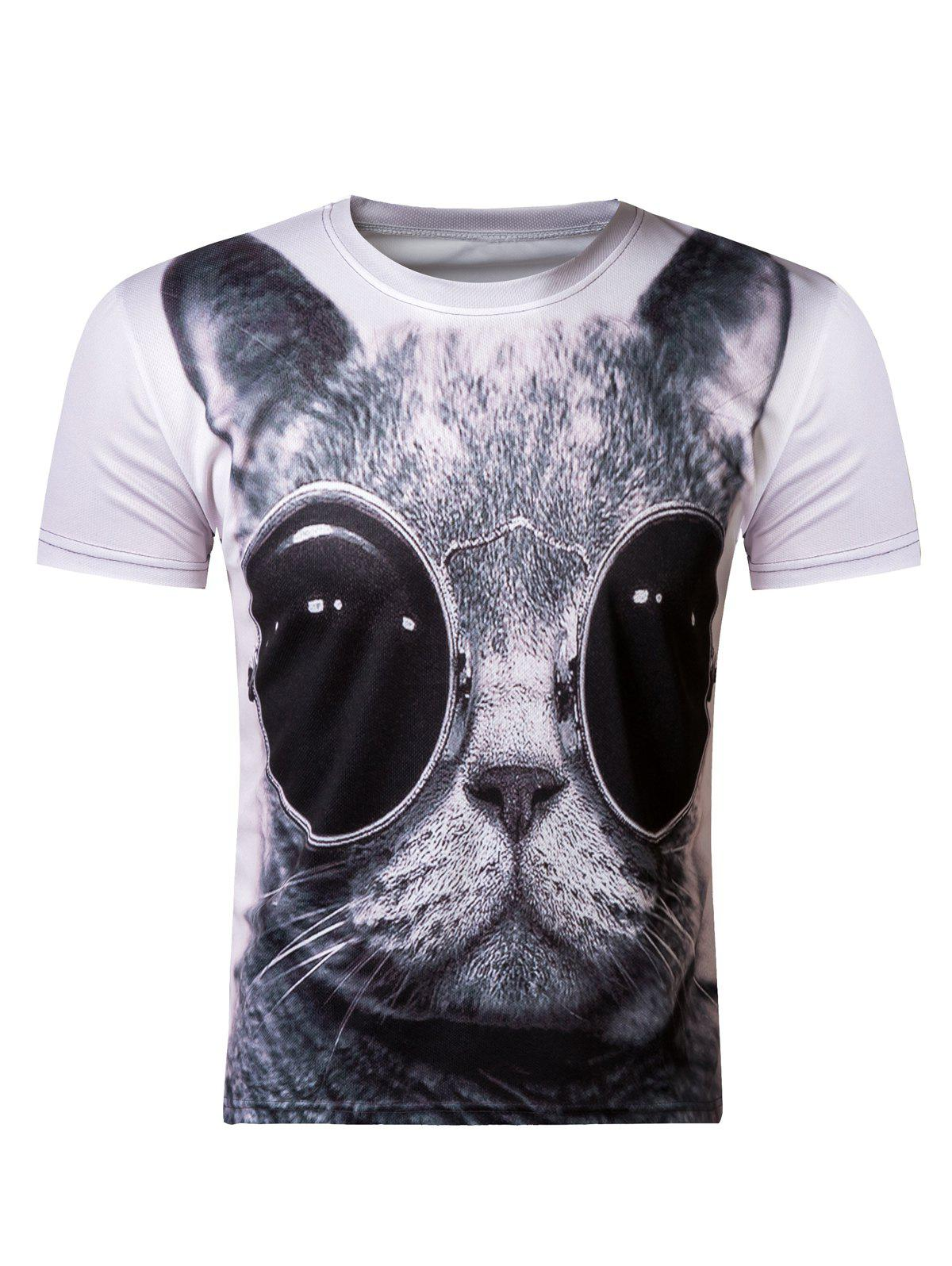 3D Round Neck Cute Kitten Wearing Glasses Print Short Sleeve T-Shirt For Men - COLORMIX 2XL