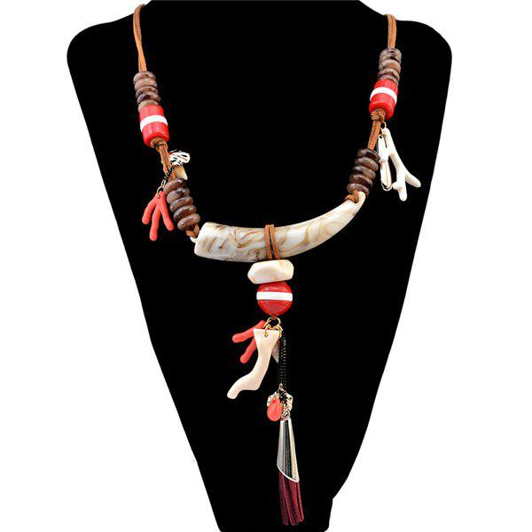 Ethnic Style Faux Wolf Tooth Deerhorn Bead Necklace - BROWN