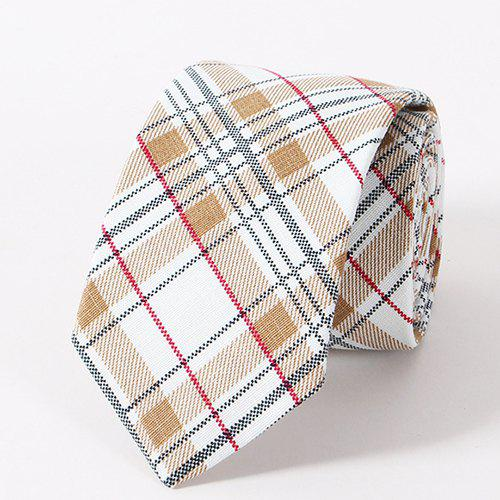 Stylish Plaid Pattern Casual Style Men's Tie - LIGHT KHAKI