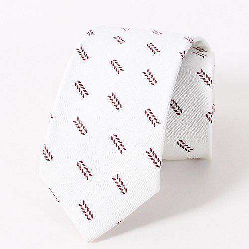Stylish Small Leaves Pattern Casual Style Men's Tie - WINE RED