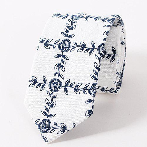 Stylish Flower and Leaves Pattern Casual Style Men's Tie - WHITE