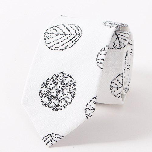 Stylish Cute Flower and Leaves Pattern Casual Style Men's Tie - WHITE