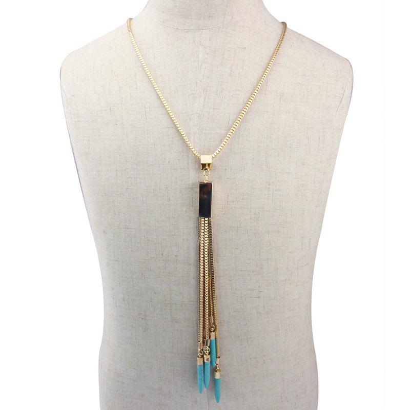 Ethnic Style Faux Turquoise Long Tassel Sweater Chain For Women - GREEN