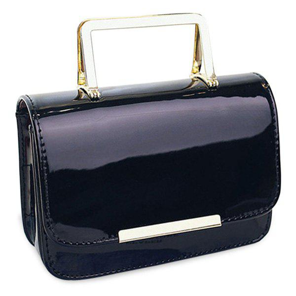 Chic Metal and Patent Leather Design Women's Tote Bag - BLACK