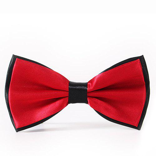 Simple Formal Tuxedo Double Deck Bicolor Banded Satin Bow Tie - WINE RED