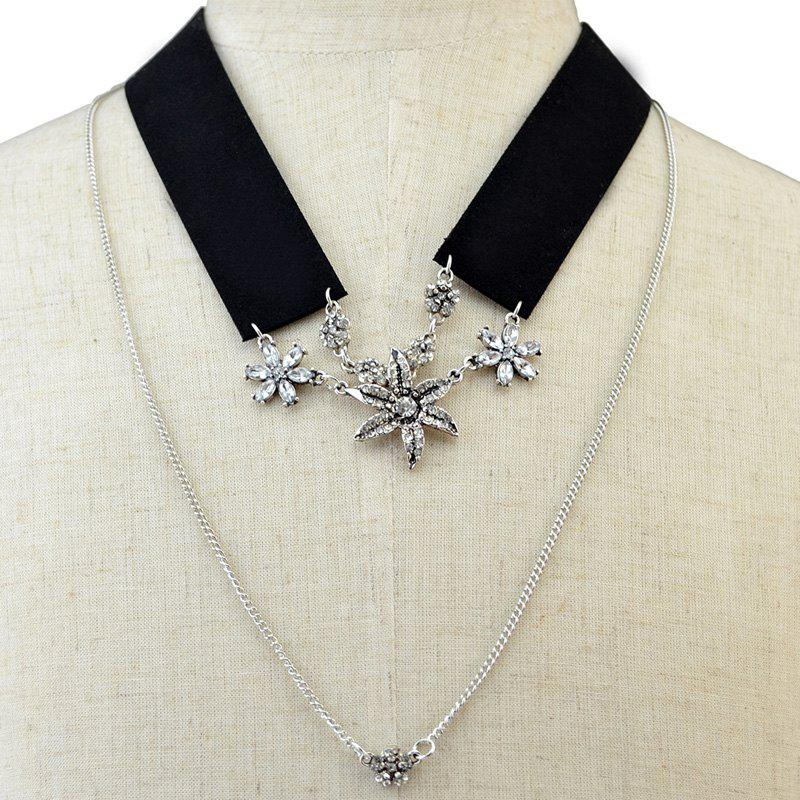 Multilayer Flower Rhinestone Cloth Fake Collar Necklace - BLACK