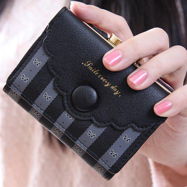 Leisure Striped and Bow Pattern Design Women's Wallet - BLACK