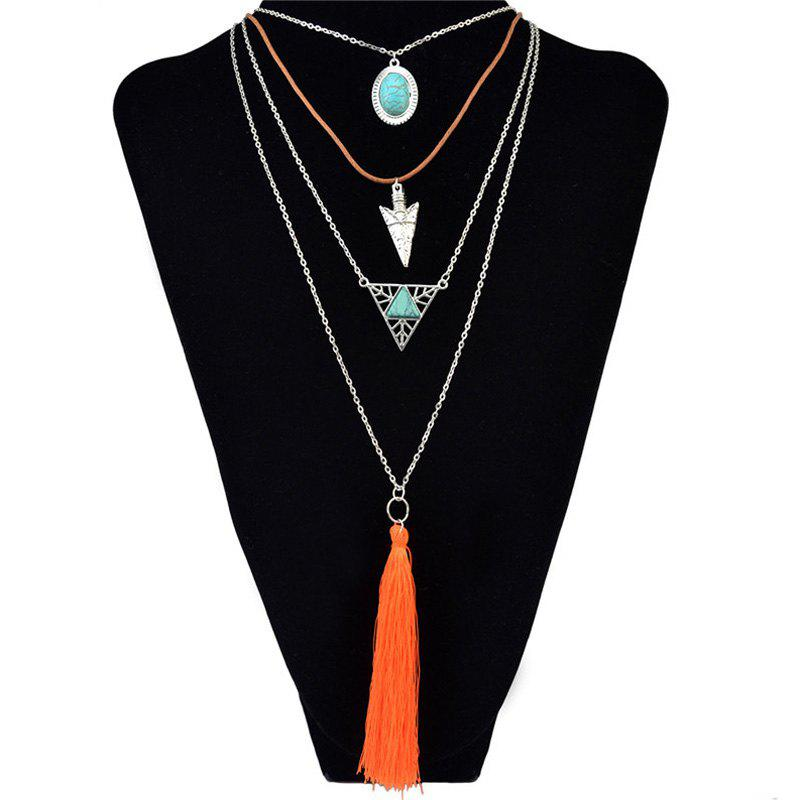 Multilayer Faux Turquoise Triangle Tassel Necklace - SILVER