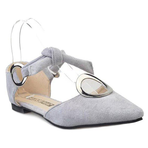 Stylish Solid Colour and Metal Ring Design Women's Flat Shoes - LIGHT GRAY 38