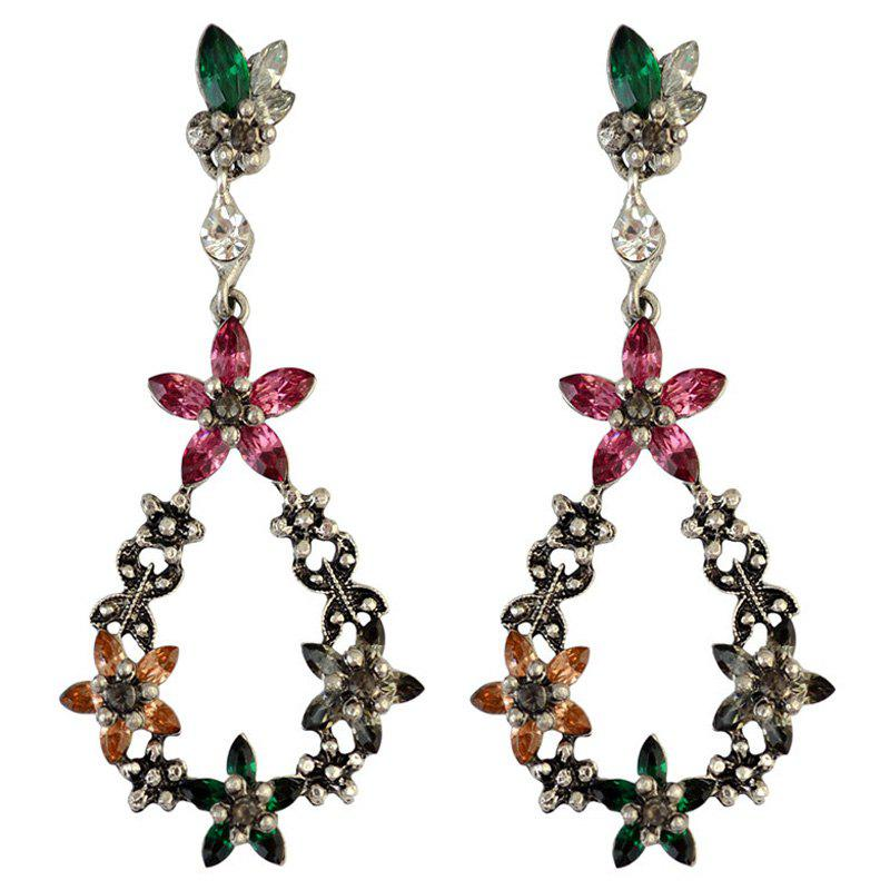 Fake Crystal Floral Teardrop Drop Earrings