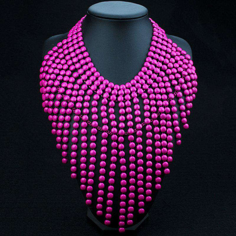 Multilayered Beads Sweater Chain - DEEP PINK