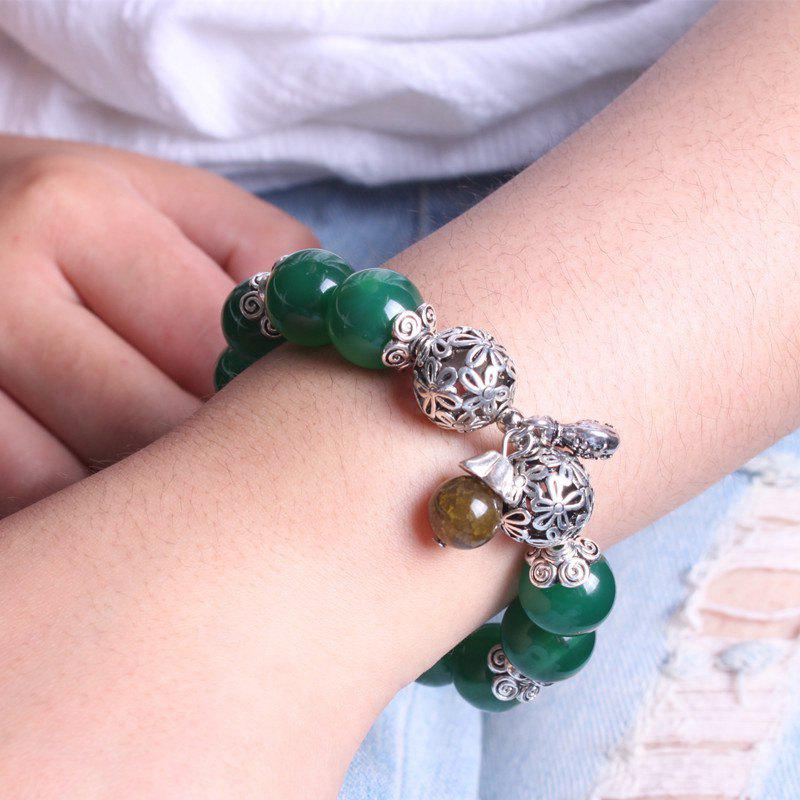 Faux Jade Bead Carving Flower Alloy Bracelet - EMERALD