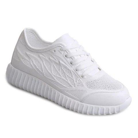 Fashionable Solid Colour and Breathable Design Women's Athletic Shoes - WHITE 39