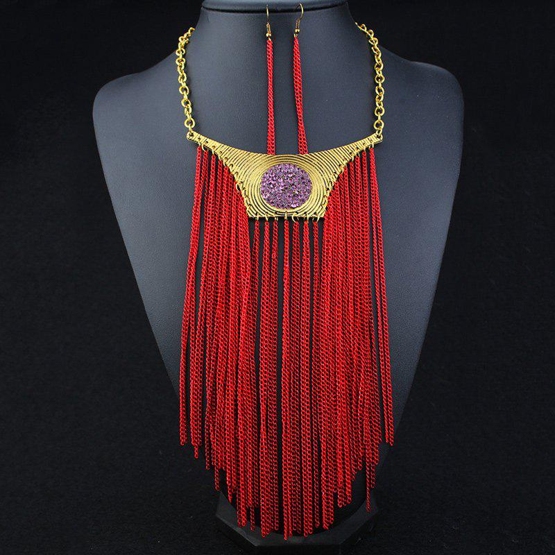 A Suit of Faux Amethyst Fringed Necklace and Earrings - RED