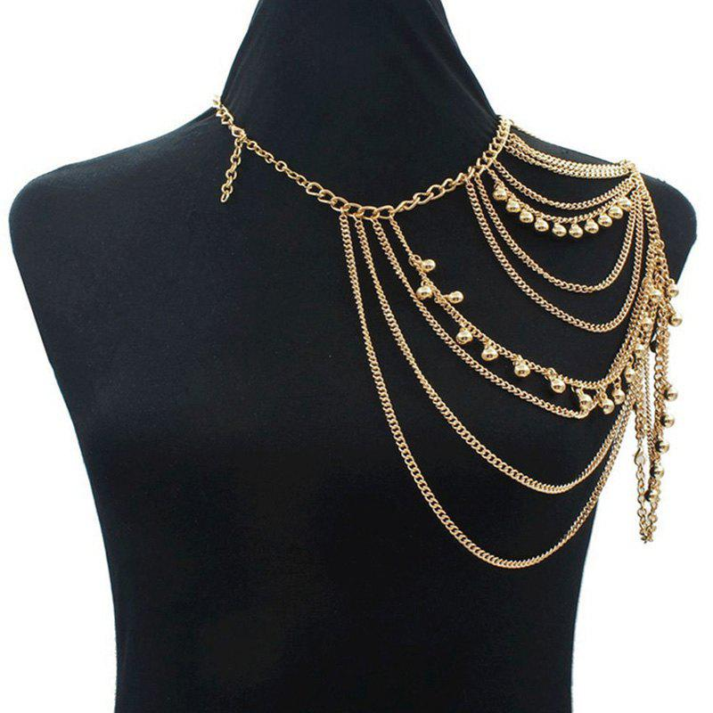 Gorgeous Golden Multilayer Tassel Shoulder Chain Body Chain For WomenJewelry<br><br><br>Color: GOLDEN