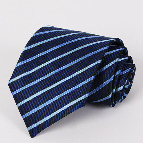 Stylish Bicolor Stripe Pattern Men's Deep Blue Tie