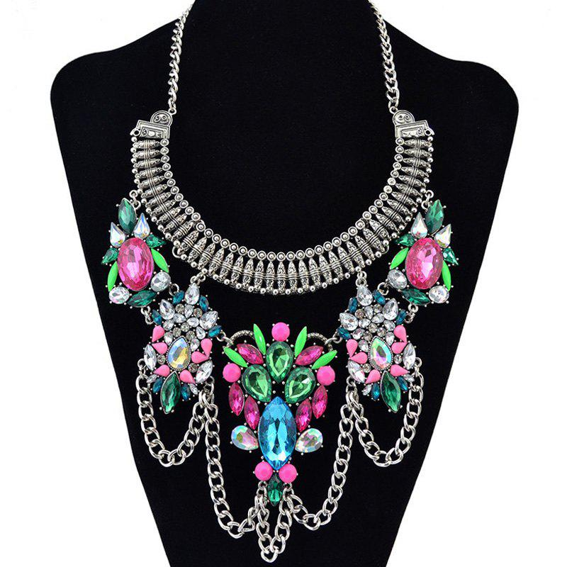 Gorgeous Faux Gem Rhinestone Water Drop Tassel Pendant Necklace For Women - COLORMIX