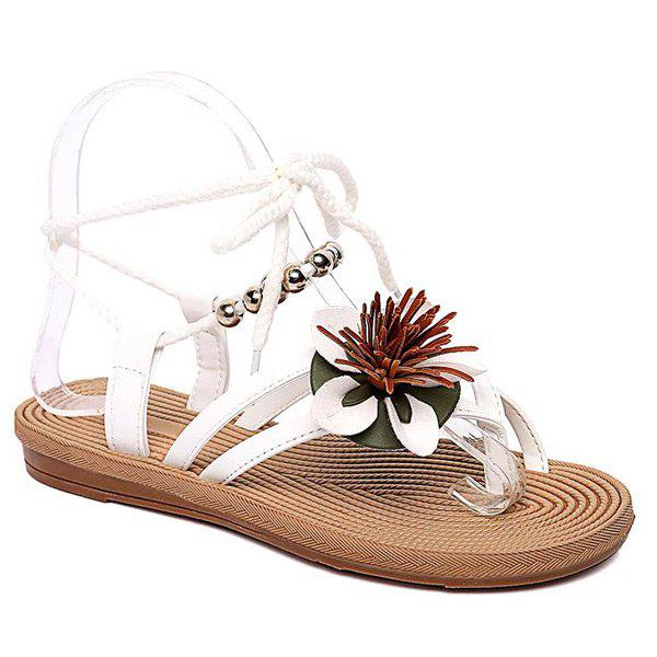 Rome Style Flower and Lace-Up Design Women's Sandals - WHITE 38