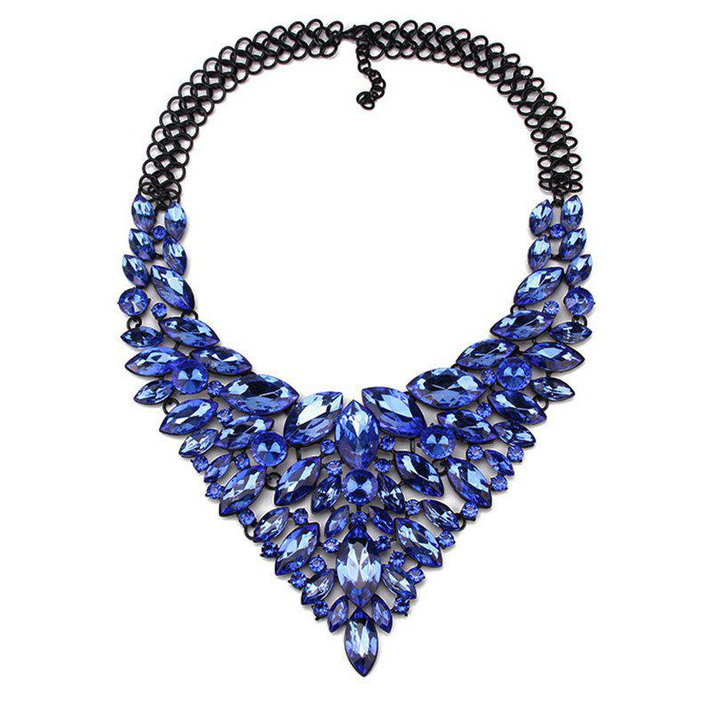 Faux Crystal Oval Necklace - BLUE