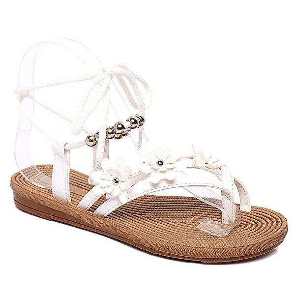 Leisure Beading and Flowers Design Women's Sandals - WHITE 39