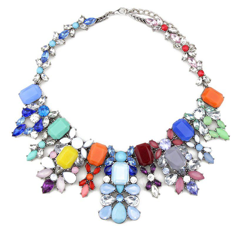 Chic Embellished Faux Crystal Water Drop Necklace For Women