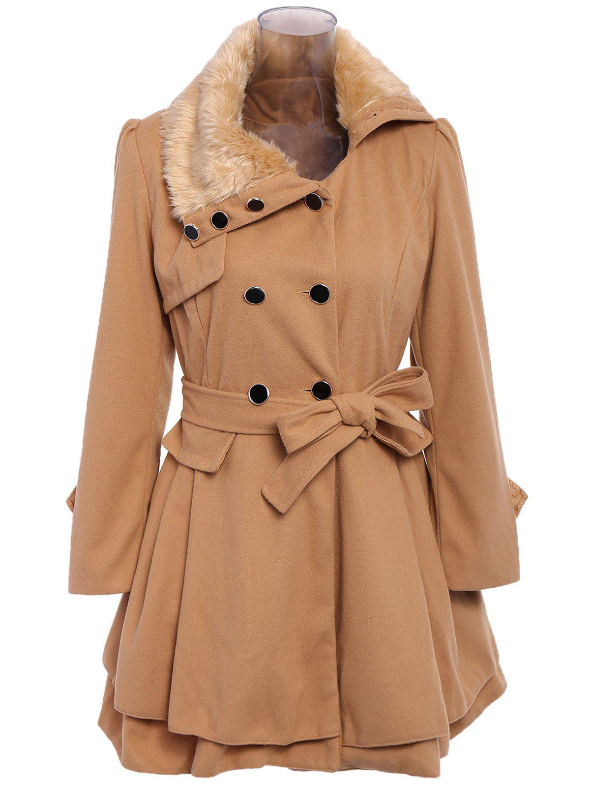 Stylish Turn-Down Neck Long Sleeve Spliced Lace-Up Button Design Women's Coat - CAMEL L
