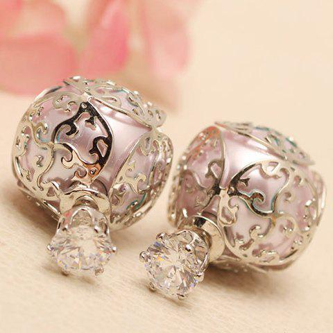Pair of Elegant Hollow Out Faux Pearl Earrings For Women - SILVER