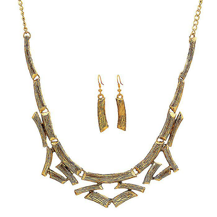 A Suit of Alloy Necklace and Earrings - GOLDEN