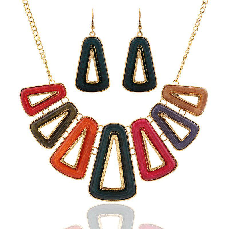 A Suit of Chic Hollow Out Triangle Necklace and Earrings For Women
