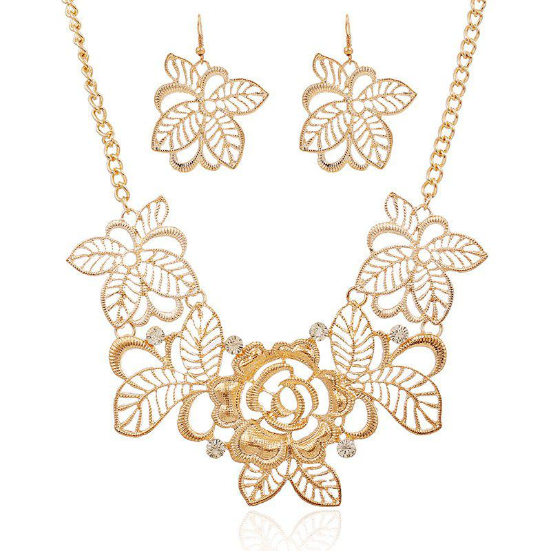 A Suit of Blossom Hollow Out Necklace and Earrings - GOLDEN