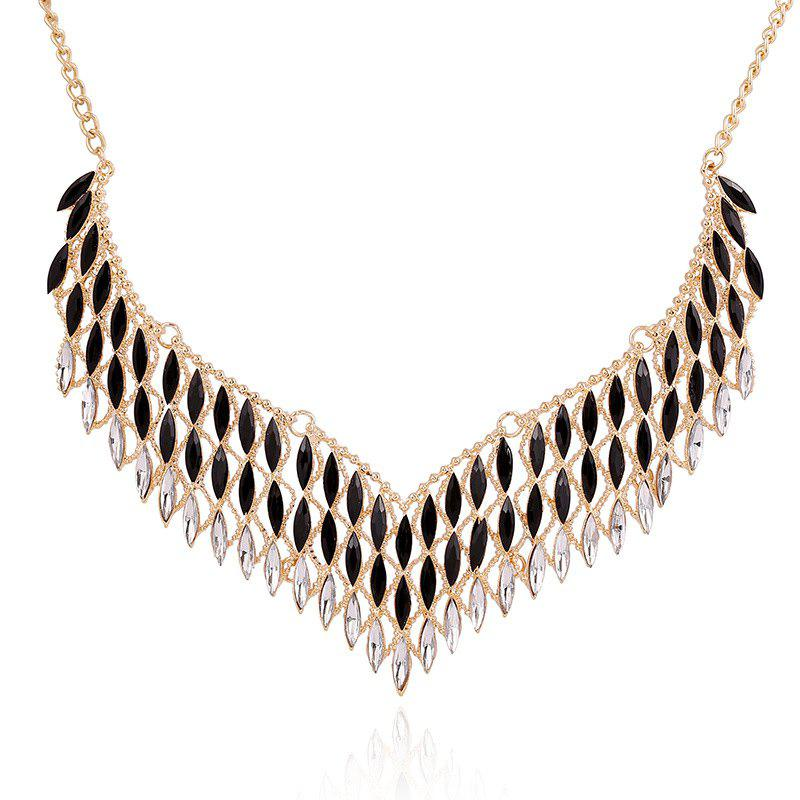 Faux Crystal Hollow Out Embellished Necklace - BLACK