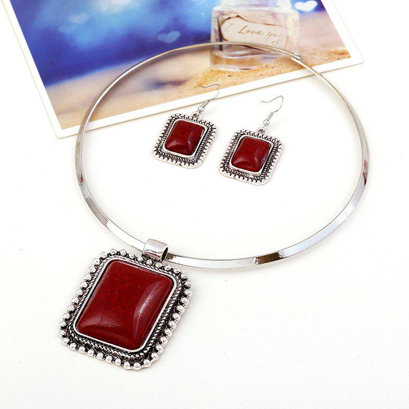 A Suit of Rectangle Faux Gem Necklace and Earrings - RED
