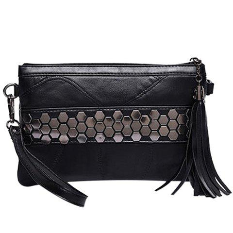 Trendy Metal and Stitching Design Women's Clutch Bag - BLACK