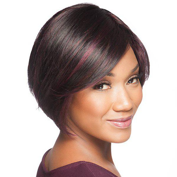 Fashion Short Purple Highlight Synthetic Soft Straight Capless Wig For Women - COLORMIX
