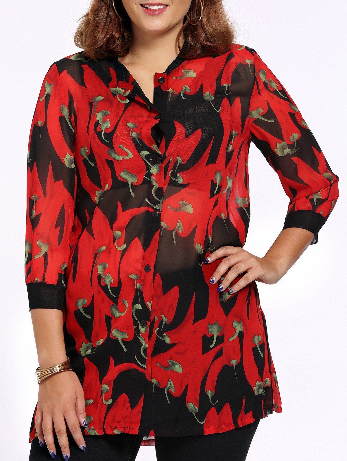 Chic Plus Size Side Slit Pepper Print Women's Shirt - RED 4XL