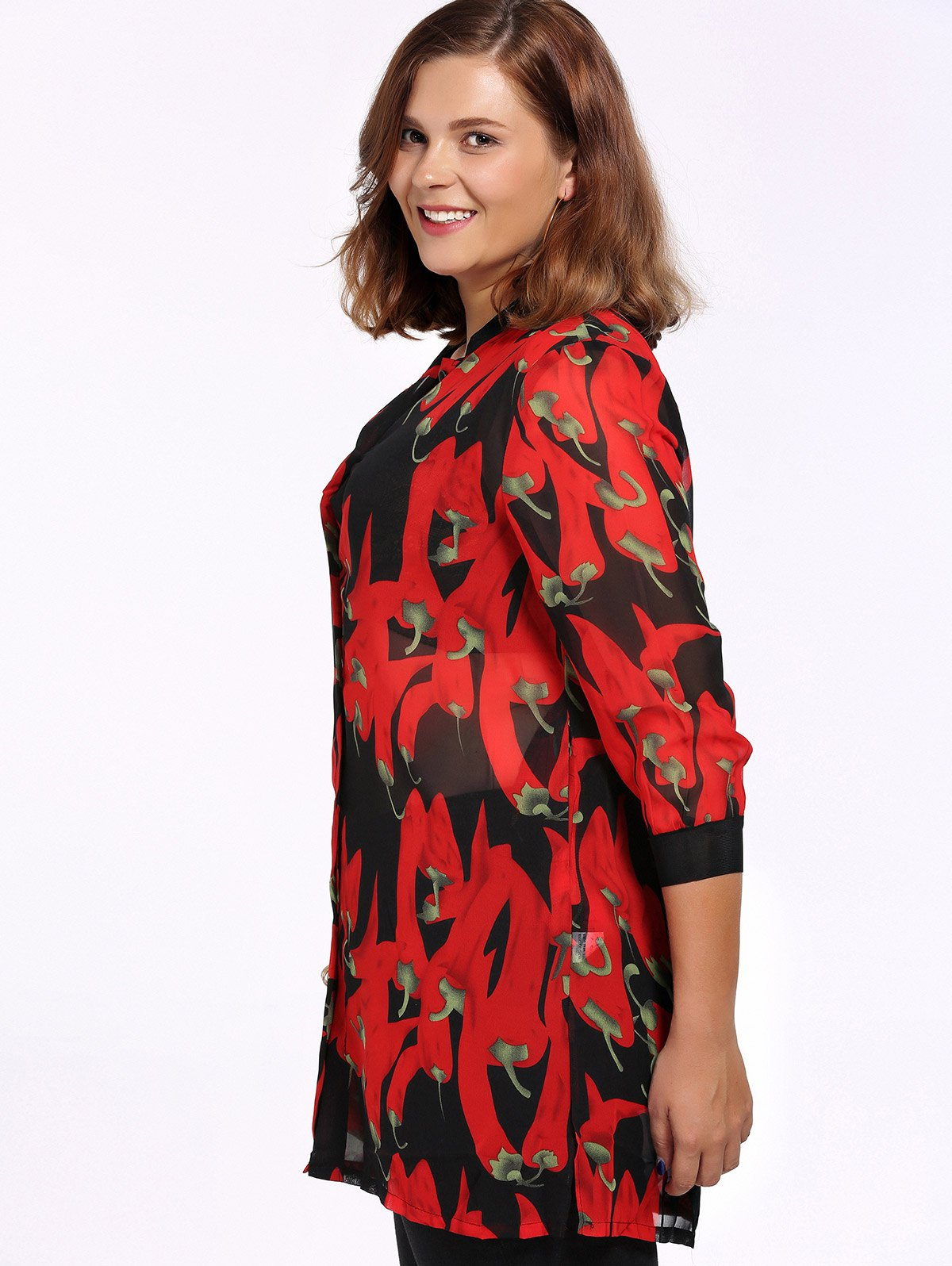 Chic Plus Size Side Slit Pepper Print Women's Shirt - RED XL