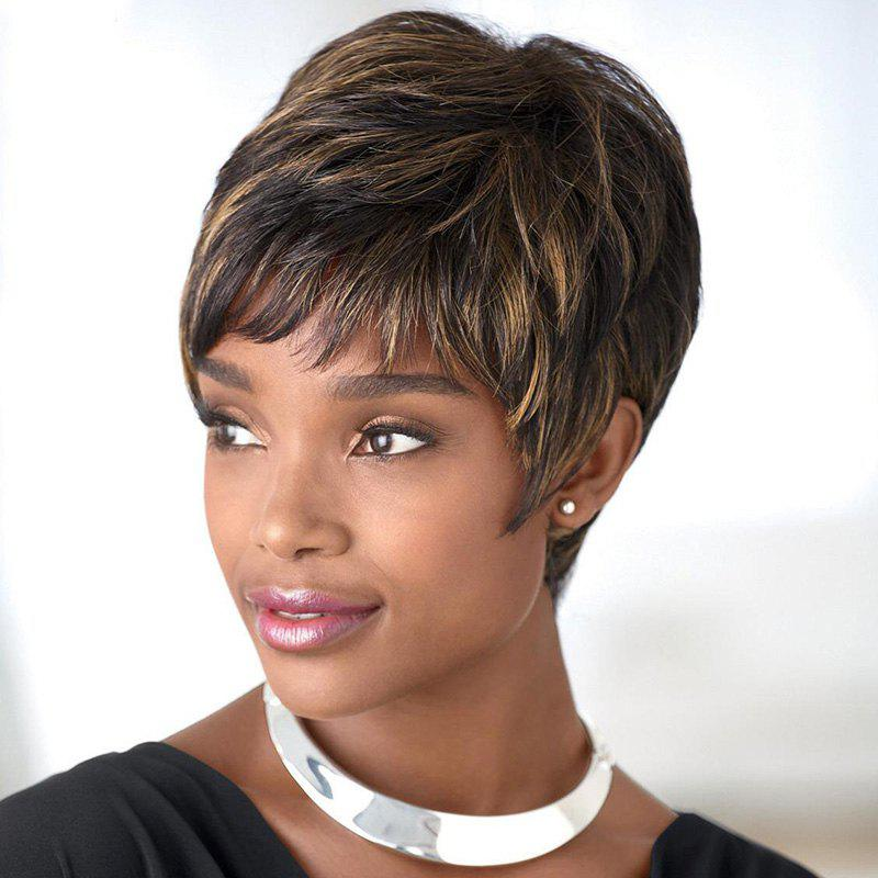 Stunning Synthetic Full Bang Short Layered Cut Wig For Women - COLORMIX