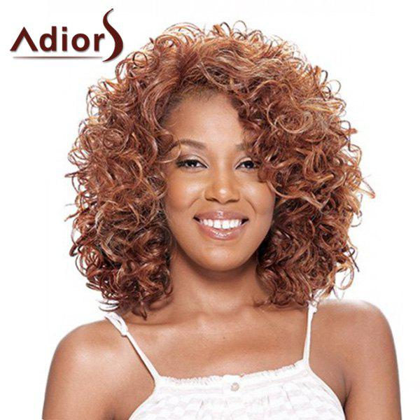 Fluffy Afro Curly Medium Synthetic Stunning Blonde Brown Mixed Capless Adiors Wig For Women - COLORMIX
